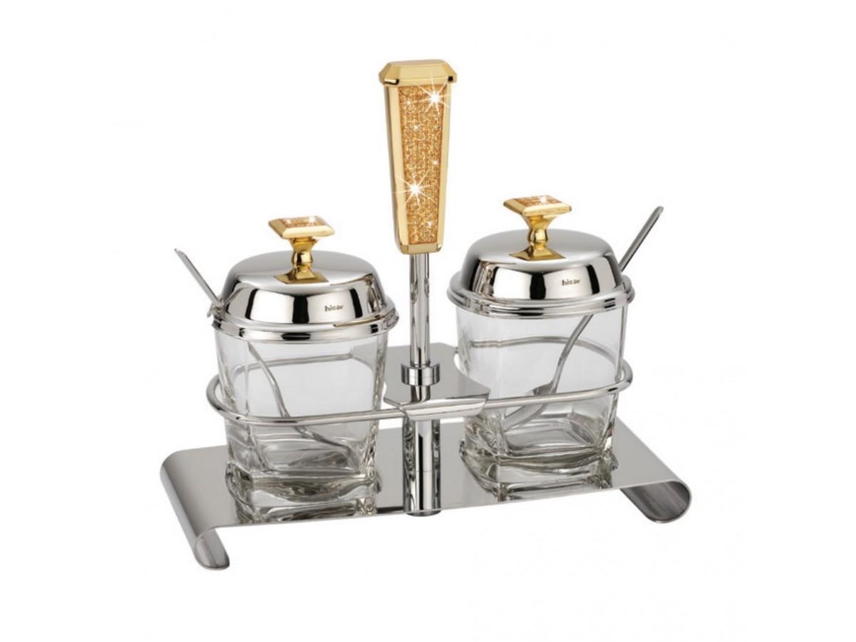 HISAR Mercury Gold Набор для меда и джема с ложками